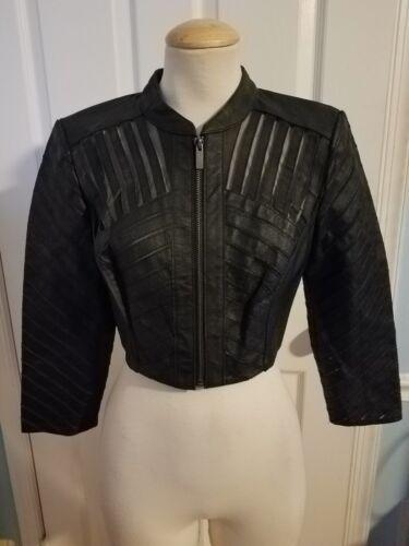 Bebe S10054 Leather Jacket Mesh Crop 0PNnwOyvm8