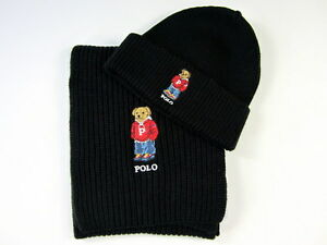 Polo Ralph Lauren Polo Bear Hat   Polo Bear Scarf Polo Black NWT  d3e6d2682d2