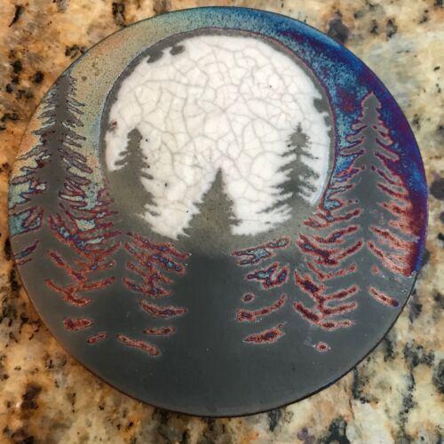 handsigned handmade Fir tree Coaster Raku Pottery NEW