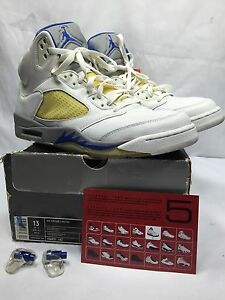 super popular 5d754 41db2 Image is loading 06-Nike-Air-Jordan-V-5-Retro-WHITE-