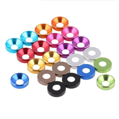 M2,2.5,3,4,5 Multi-Color Aluminum Alloy Flat//Countersunk Head Washers for Screws