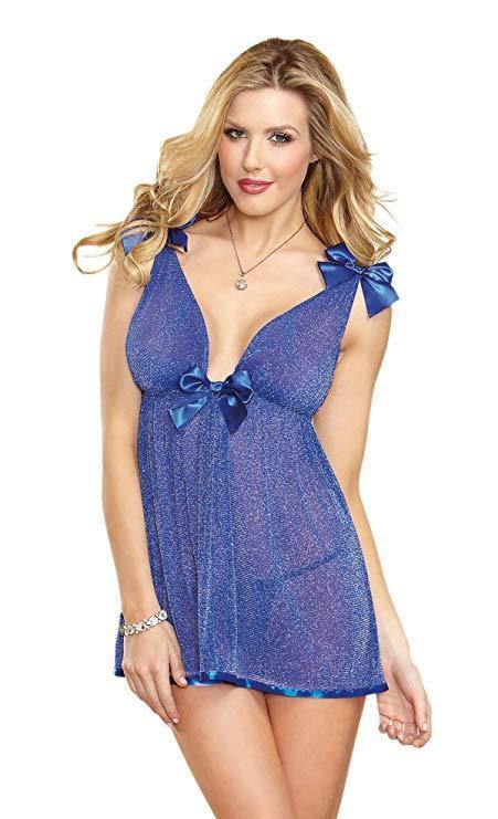 K03 - Ladies Dreamgirl bluee Bow Trim Lurex Sparkle Babydoll & Gstring -