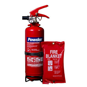 NEW 1 KG DRY POWDER FIRE EXTINGUISHER + SMALL FIRE BLANKET