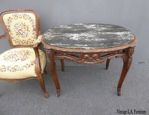 Antique-French-Louis-XV-Marble-Side-Table-Ornately-Carved-Wood