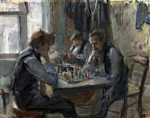 Life Art Repro Made in U.S.A Giclee Prints Chess Players by Isaac Israëls