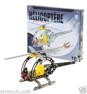 JEU DE CONSTRUCTION HELICOPTERE EN METAL 147 PIECES + OUTILS BRIQUE
