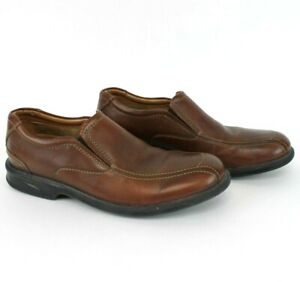 Clarks-Brown-Leather-Slip-On-Shoes-Colson-Knoll-Loafers-Men-039-s-9-M-Bicycle-Toe