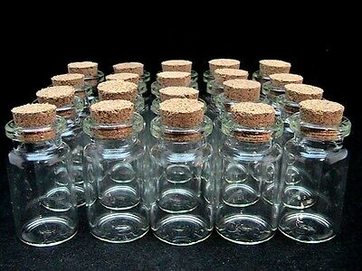 10 x Miniature Glass Bottles / Vials & Cork Stopper Decorative Storage Pendant
