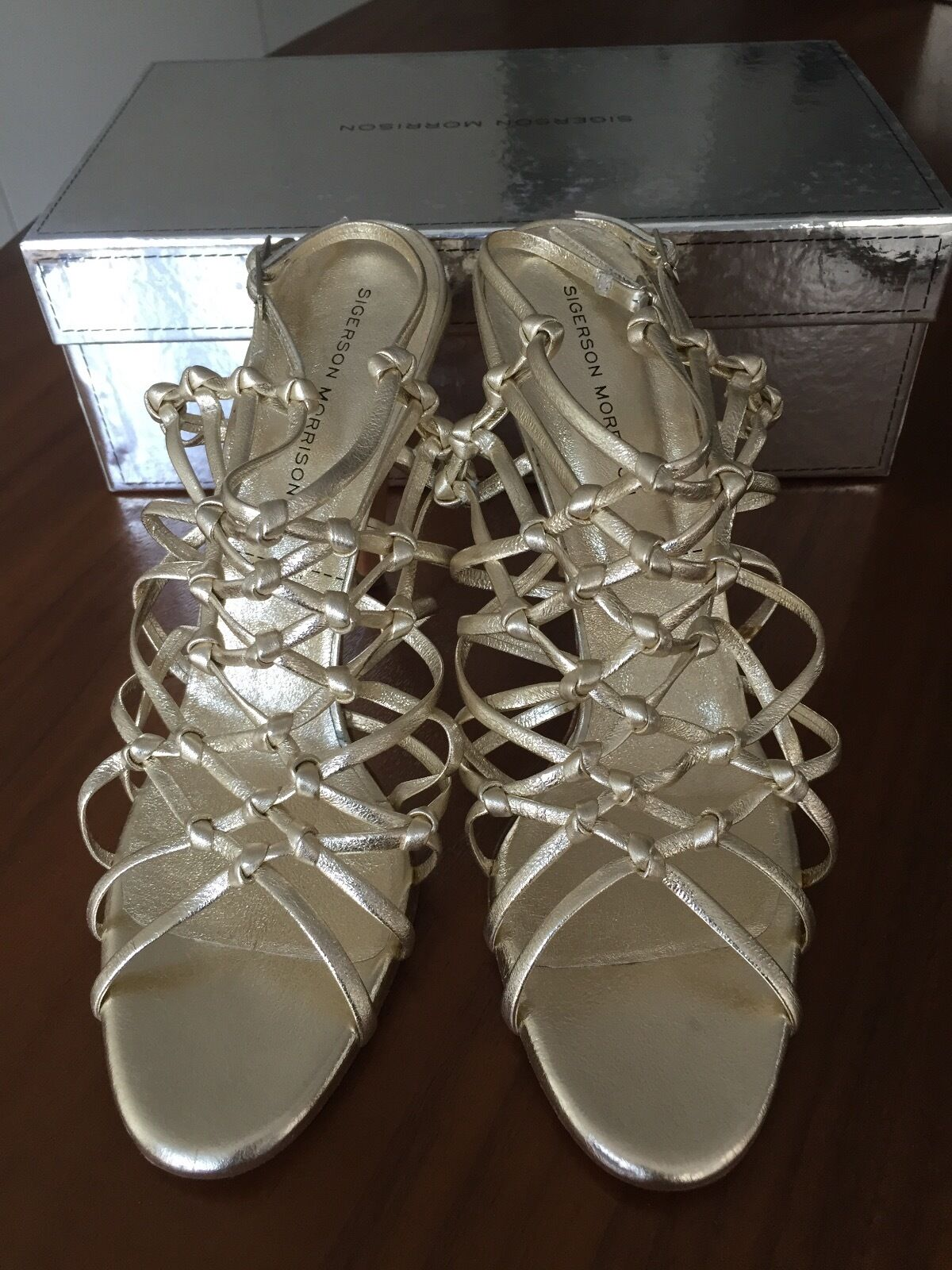 Sigerson Morrison Light Gold Metallic Hi Heel Sandals sz 11 Made in Italy