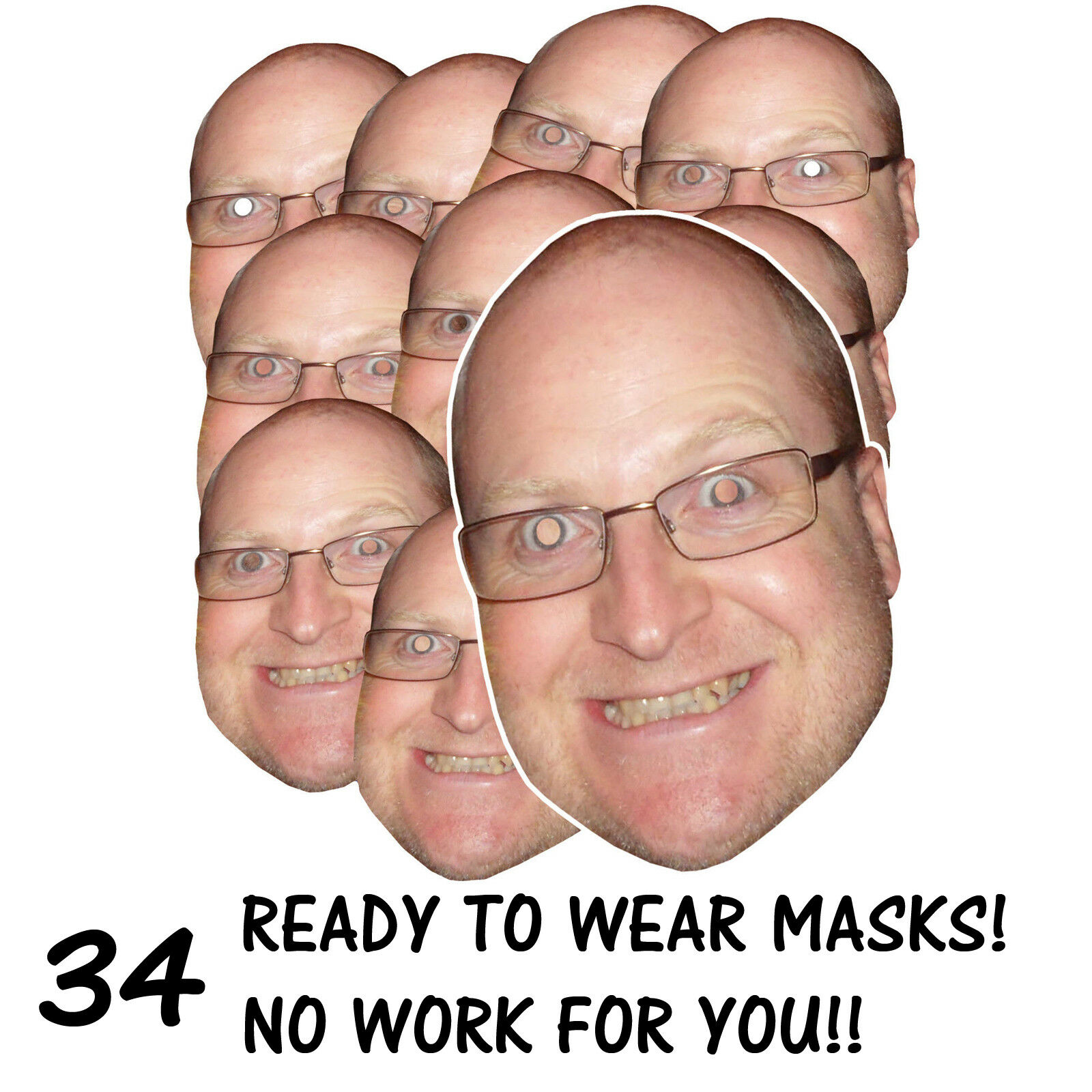 34 x PERSONALISED FUN FACE MASKS - STAG HEN PARTY - SEND US YOUR PIC - FREE P&P