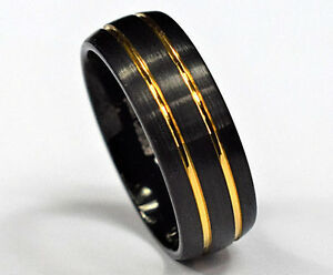 Image Is Loading Tungsten Carbide Ring Brushed Black Gold Stripes Men