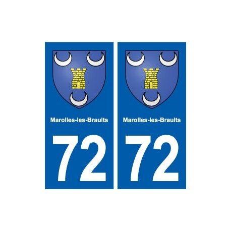72 Marolles-les-Braults blason autocollant plaque stickers ville droits