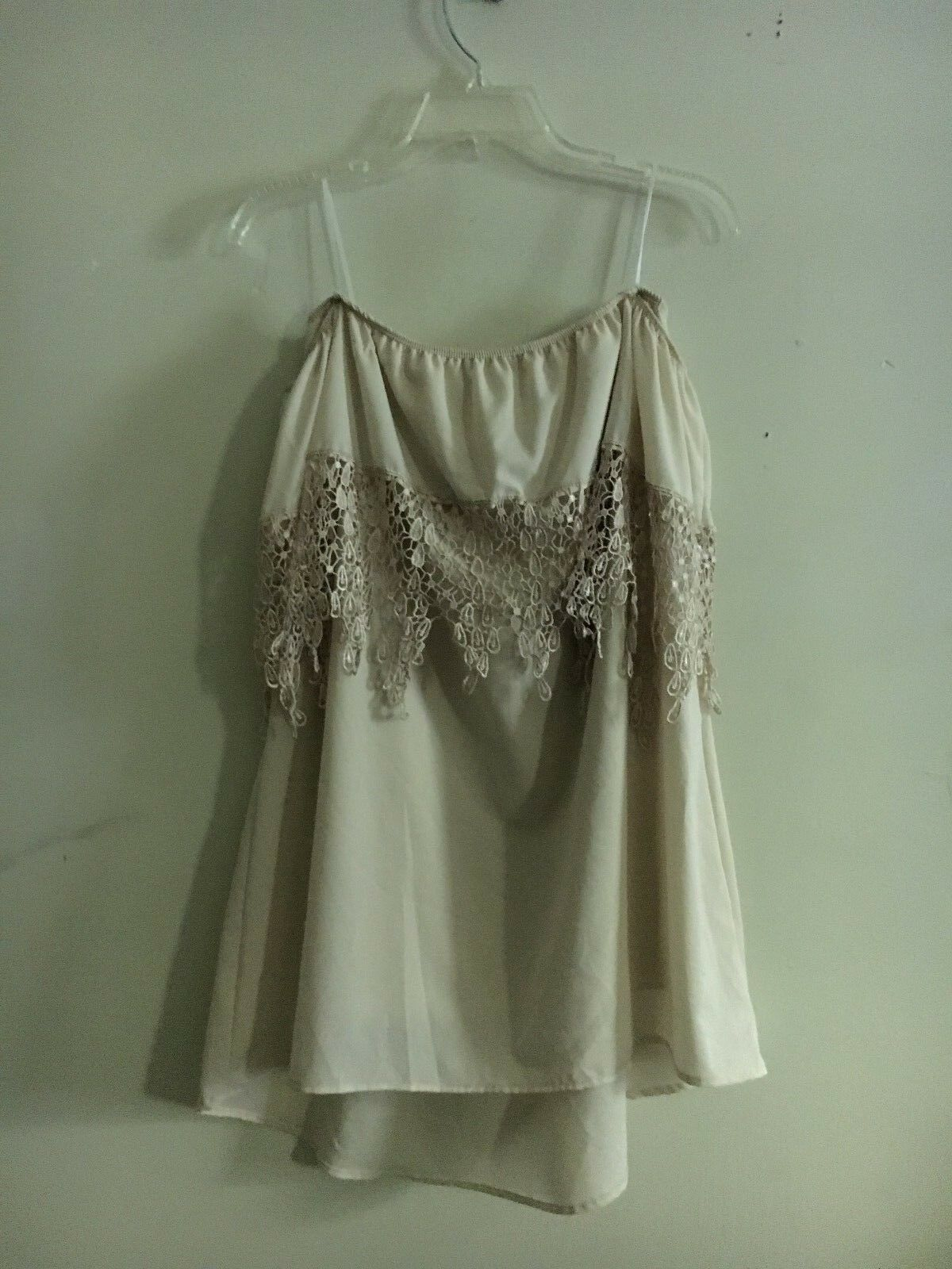 Tobi Women Beige Off-Shoulder Summer Dress Size M 100% Polyester