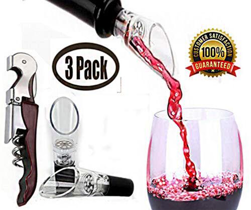 Wine Aerator Pourer 3 Pack Premium Spouts 2 /& Corkscrew 1