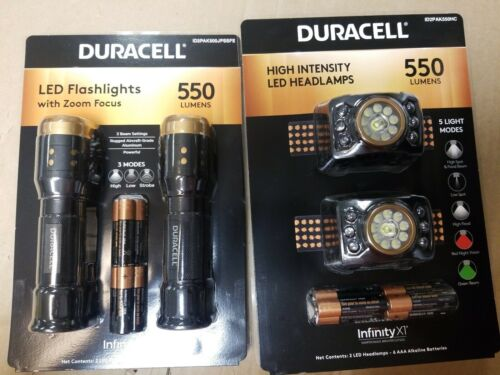 DURACELL 2-Pack 550 Lumens Zoom Focus LED Flashlights /& LED Head Lamps 550 NEW