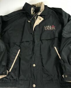 Lake-Laurel-Jacket-VTG-90s-Mens-XL-Lined-Coat-Windbreaker-Kentucky-Vented-Black