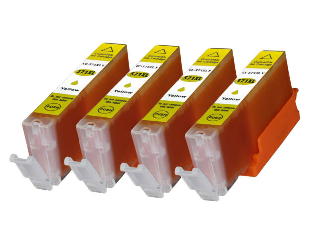 4 Yellow Cli-571XL non oem ink Cartridges for Canon MG7752 MG7753 TS5050 TS5051