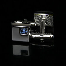 Stainless Steel Silver Vintage Men's Wedding Gift Blue Square Crystal Cuff Links