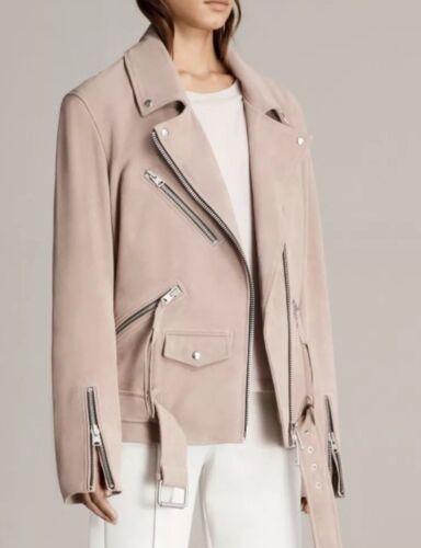 Pink Plait Allsaints Biker Leather Oversized £455 sz clay Jacket Balfern suede M BxFT8q