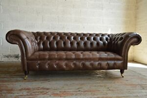 Details About HANDMADE 3 SEATER VINTAGE NATURAL BROWN LEATHER CHESTERFIELD  SOFA, SETTEE