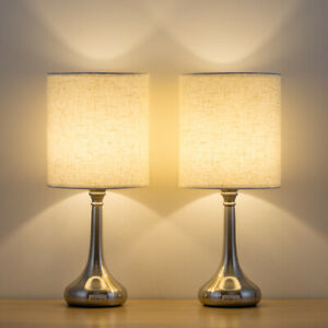 Modern Bedside Table Lamp Set Of 2 White Fabric Shade