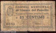 Ayuntamiento de LLORENS del PANADES 25 Centimos @ Baix Panades - Tarragona @