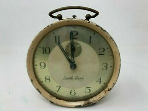 Vintage Old Iron Craft Collectible Made In Britain Smith Alarm Table Clock Watch