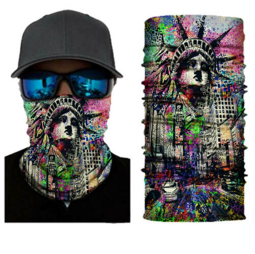 Neck Gaiter Face Buff Statue of Liberty Print Polyester Spandex Stretchy Cooling