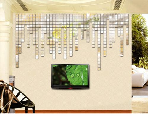 Sticker Autocollant Adhesif Miroir Argente Murale Maison Chambre Diy Decoration