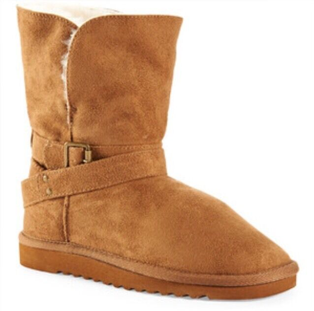 NEW Aeropostale Faux Suede Fur Buckle Core Boots Bootie Tan NWT Size 6