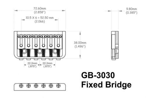 Black Hard Tail Guitar Bridge String Thru Fixed Bridge w// Steel Saddles