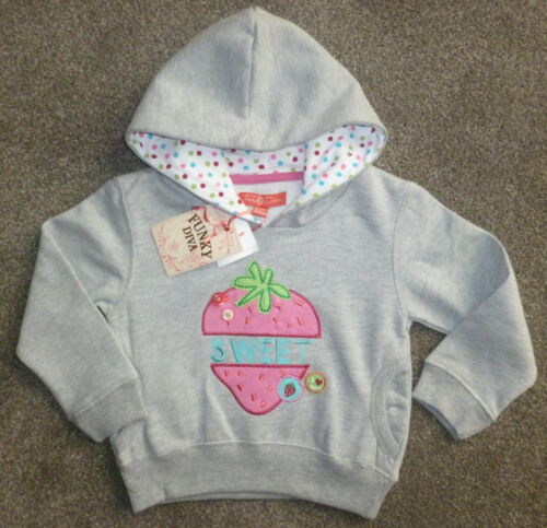 Girls FUNKY DIVA hoody hooded  sweatshirt pink white grey Age 2-3 3-4 5-6 years