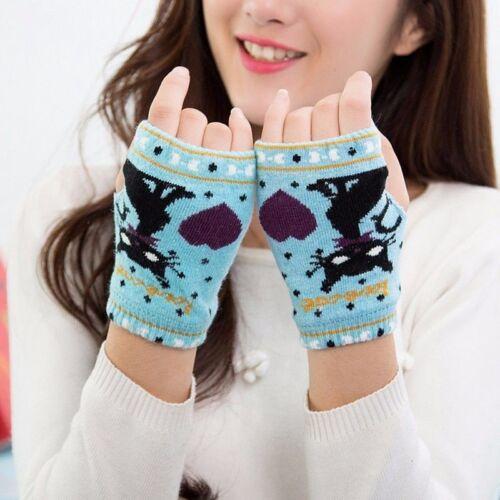 Les femmes hiver chaud doigts moins Gant Cartoon Motif Mode Imprimé Tricot Gants