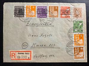 1948 Murnau Germany Registered Postwar Cover Domestic b
