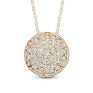 Zale-039-s-1-3ct-Diamond-Cluster-Necklace-Pendant-in-10K-Gold-Valentine-039-s-Day-Gift