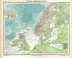 Cartina Geografica Nord Europa.Carta Geografica Antica Nord Europa Pre 2 Guerra Mondiale 1937 Antique Map Ebay