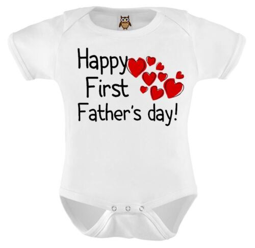 Fathers Day Baby Vest Happy First Fathers Day Cute Hearts Baby Bodysuit Gift 103