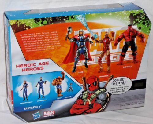 HASBRO Marvel univers Heroic Age Heroes Thor Iron Man Red Hulk Avengers 3pk Set