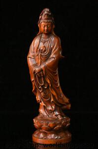 8-4-034-Old-Chinese-Buddhism-Boxwood-Wood-Carved-Kwan-yin-Guan-Yin-Goddess-Statue