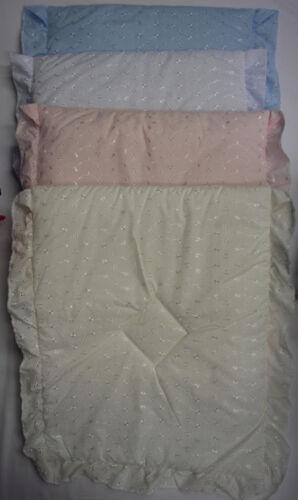Babies Baby 3 Piece Pram Set Quilt Pillow Padded Blue White Cream Pink