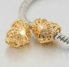 GOLD PLATED FILIGREE LOVE HEART CHARM BEAD FOR CHARM BRACELET OR NECKLACE