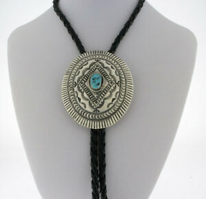 Kingman turquoise sterling silver bolo tie Western wedding birthday men women unisex Zoom attire Handcrafted Approx 1 1 2 x  1 12 inches
