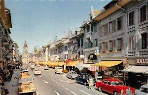 MORGES-SWITZERLAND-LA-GRAND-RUE-POSTCARD-1960s