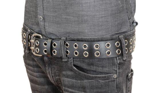 2 Row Eyelet Grommet Leather Uniform Belt Heavy-duty USA Made Rock Goth Metal