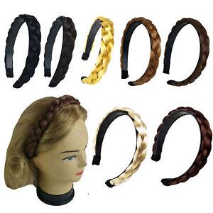 Womens-Braided-Synthetic-Hair-Plaited-Fishtail-Elastic-Head-Hair-band-Hairband