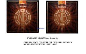 OFFERTA-2-SET-CORDE-D-039-ADDARIO-NB1047-Nickel-Bronze-10-47-PER-CHITARRA-ACUSTICA