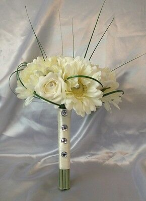 ARTIFICIAL FLOWERS IVORY ROSE GERBERA WEDDING BRIDESMAID DIAMANTE BOUQUET POSIE