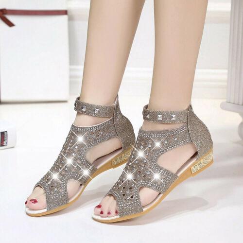 Women Summer Wedge Zip Up Sandals Peep Toe Low Heel Club Crystal Shoes Sandal