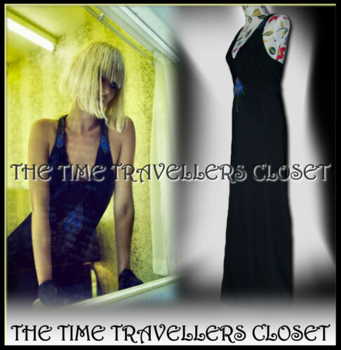 pavone Moss Maxi decorato perline Black 12 di Kate Topshop vestito 16 Uk impreziosito con 14 0qtxwdT