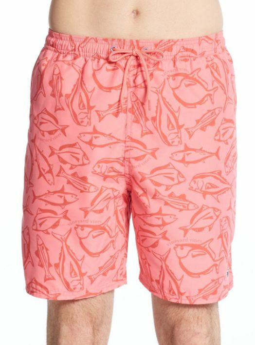 VINEYARD VINES GAME FISH BUNGALOW BOARD SHORTS SWIM TRUNKS PINK SMALL NEW